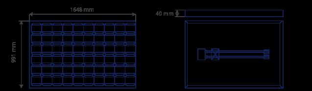 Paneles solares de 24 voltios SL 606. Plano de medidas