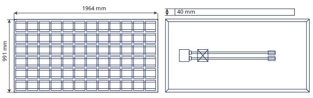 Paneles solares de 24 voltios SL 726. Plano de medidas
